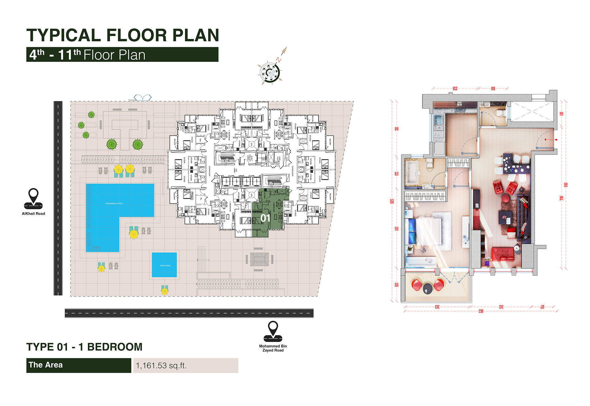 1 Bedroom Type 1, Size 1161 Sq Ft