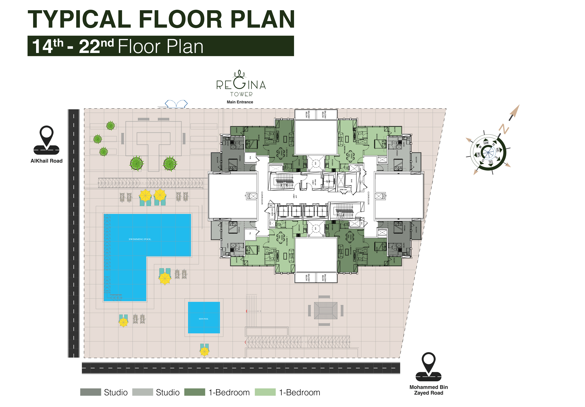 Typical Floor Plan 14th to 22nd Floor